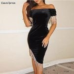Suede Design Off Shoulder Bodycon Dress