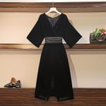 black elegant office ladies velvet dress