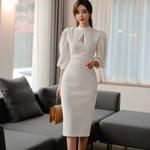 Lantern Sleeve Pencil Office Lady White Dress
