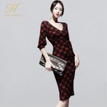 Office Lady New Printed Pencil Dress