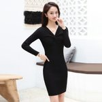 Wrap Chest Sexy Slim Fit Sweater Dress