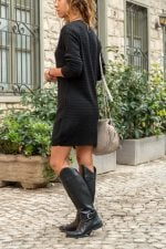 Ribbed Temporary Shed Sweater Dress