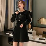 Office Lady A-line High Waist Button Sweater Dresses