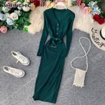 New Knitted Elegant V-neck Black/Green Sweater Dress