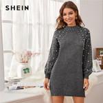 Grey Pearl Beaded Drop Shoulder Sweater Dress