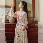 clothing Turn-down Collar Print Vintage dress