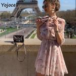 floral print bow chiffon streetwear mini dress