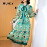 Natural Silk Ladies Long Sleeve Bow-knot Dresses