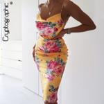 Spring Floral Print Sleeveless Sexy Straps Dress