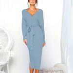 Knit Wrap Fashion Sexy Backless Bodycon Dresses