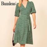 Vintage Sashes Chiffon Green Floral Print Wrap dress