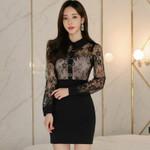 Patchwork Full Sleeved High Waist Mini Black Dresses
