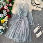 Pink Lace Floral Party Dress