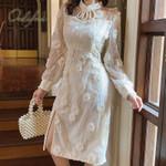 Long Sleeve Vintage White Lace Midi Dress