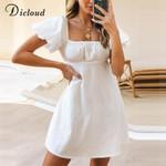Puff Sleeve White Cotton Day Dress