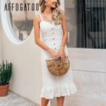 Elegant ruffle lace white dress