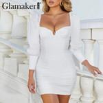 Sexy v neck white dress