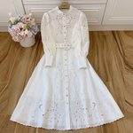 Hollow Long Lantern Sleeve White Dress