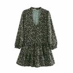 Vintage V Neck Animal Pattern Print Casual Mini Dress