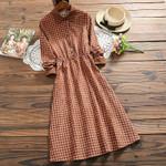 new arrival corduroy long sleeve vintage dress
