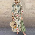 Fashion Vintage Print Floral Patch Dress
