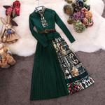 Vintage Print Draped Knit Patchwork Dresses