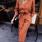 Sexy v Neck Midi Vintage Long Sleeve Dress