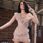 One Shoulder Lace Celebrity Evening Party Dress