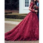 Saudi Arabic Flower Lace Wedding Dresses