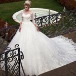 Three Quarter Sleeve Ball Gown Wedding Dresses