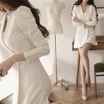 Office Lady Solid Color Long Sleeve Slim Mini Dress