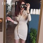 Single Breasted Blazer Dress Notched