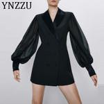 Solid Elegant Blazer Sleeve Slim Short Dress