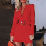 Blazer Ladies Office Turn Down Neck Belt Red Dress