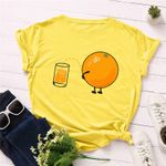 Lovely Orange Print T Shirt Cotton O Neck