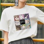 O-neck fashion casual Meow T-shirt
