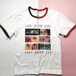 Short Sleeve Eyes Never Lie Funny Tshirt