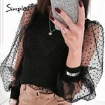 Sexy fashion patchwork mesh long sleeve blouse