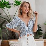 Sexy boho floral print blouse shirt