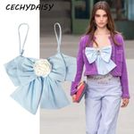Crop Top Runway Elegant Pink Blue Bow Backless