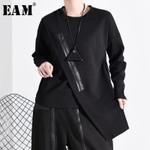 Loose Fit Black Asymmetrical Split Sweatshirt