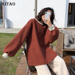 Patchwork Hit Color Vintage Pullover Sweatshirts