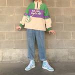 Color matching Plus velvet Stand collar Hoodie Sweatshirt