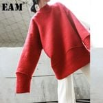 Loose Fit Red Brief Oversized Long Sweatshirt