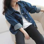 Retro Long Sleeve Loose Overcoat Jean Jacket