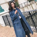 Long Denim Trench Coat Casual Oversized