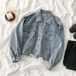 Denim Jacket Bule Fashion Turn-down Collar
