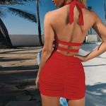 Backless Halter Sexy Slim Fit Pack Hip Mini Dress
