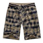 Cotton Quality  Shorts Fashion Plaid Pocket Loose