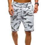 Camouflage Printed Shorts Elastic Waist Drawstring Fitness
